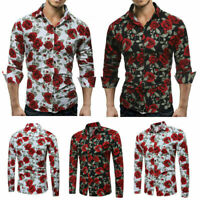 Slim Men Luxury Long Sleeve Tops Tee Fit Casual Rose Flower Printed Shirts