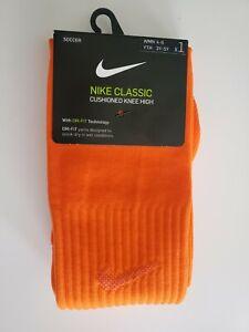 NWT NIKE Classic Cushioned Knee High Dri-Fit Soccer Socks SX5728-806 Orange