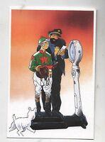 Carte Postale Tintin par Pascal SOMON. Tintin jockey avec Haddock. Tirage limité