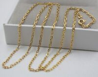 Pure 18k Yellow Gold Necklace 2mm Cable Link Chain Necklace 22inch Au750