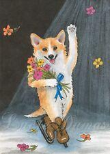 ACEO art print Dog 45 Corgi ice skating from watercolor painting L.Dumas