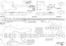 Fender jazz Bass    electric  GUITAR PLANS  - Full scale   detailed