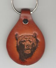 GRIZZLE BEAR LEATHER KEYCHAIN-FREE SHIPPING-