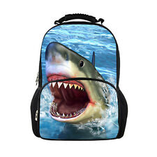 Shoulder Backpack Bag School Travel Camping Cool Shark Schoolbag Large Mens Tote
