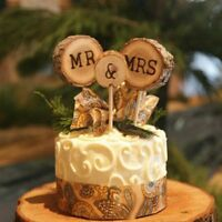 3pcs Wood Mr And Mrs Wedding Cake Topper Stick Decor Rustic Anniversary Party