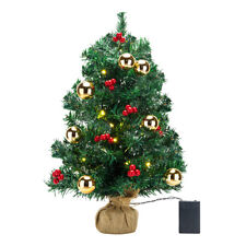 Tabletop Artificial Small Mini Christmas Tree with LED Light Ornaments