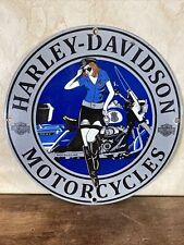 New Listing1969 'Harley-Davidson' Police Gas & Oil Plate Porcelain Sign 12 Inch Usa