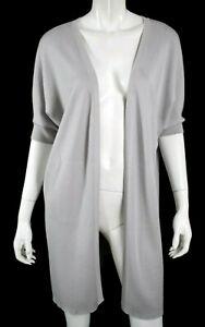 LORO PIANA Cloud Gray Cashmere Half Sleeve Open Cardigan Sweater M
