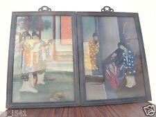 China Antique Oil Paintings & Wood Glass Frame of People