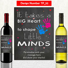 PERSONALISED NURSERY SCHOOL TEACHER GIFT LEAVING END OF TERM  WINE LABEL