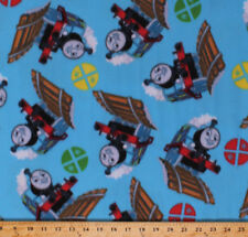 Fleece Thomas the Train Signs Kids Blue Fleece Fabric Print by the Yard A342.12