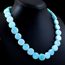 345.00 Cts Earth Mined Blue Peruvian Opal Round Shape Beads Necklace NK 42E113