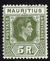 Mauritius1938 olive-green 5r multi-script CA mint SG262