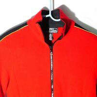 L-RL Lauren Active, Ralph Lauren Womens Red Full Zip - Size Lg - Gold Stripes