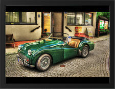 "OLD GREEN TRIUMPH TR3 A3 FRAMED PHOTOGRAPHIC PRINT 15.7""x11.8"""