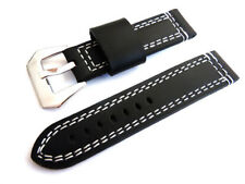 22mm Hand Stitches Black Leather Watch Strap Fishtail Buckle