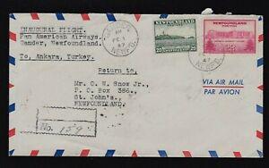 1947 Registered Gander,Newfoundland to Ankara Turkey Airmail Cover 50c Rate