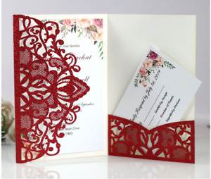 10pcs Laser Cut Glitter Party Invitations Cards Birthday Wedding Engagement