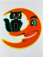Vintage LARGE Beistle Diecut Embossed Halloween Black Cat on the Moon