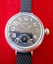Raro Negro Plata Reloj de trinchera ZENITH frente Vintage 1916 35.5mm Breguet Primavera