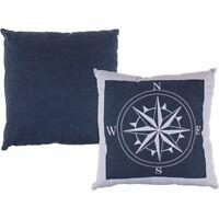 """Blau/Weißes Kissen """"Kompass"""" mit Reissverschluss 100% Baumwolle ca. 40 x 40 cm"""