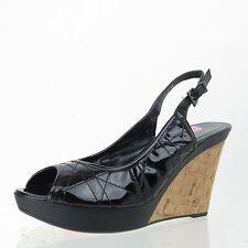 Women's VAN ELI Black Patent Leather Slingback Open Toe Wedge Heel Size 9 N NEW