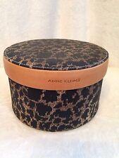 "Vintage Anne Klein Leopard Print Leather Round Miniature Hat Box 6.5"" Dia"