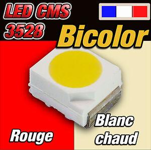 142# LED CMS 3528 bicolor rouge / blanc chaud 10 à 100pcs -- red / warm white