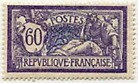 "FRANCE STAMP TIMBRE YVERT N° 144 "" MERSON , 60c VIOLET ET BLEU "" NEUF xx TTB"