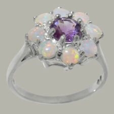 Solid 925 Sterling Silver Natural Amethyst & Opal Womens Cluster Ring