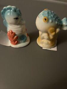 Nautical Mini salt and pepper shakers Seahorse And  Fish