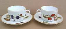 ROYAL WORCESTER - WILD HARVEST - COLLECTION OF TWO CUPS & SAUCERS - YELLOW RIM