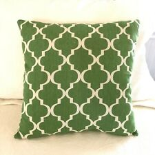 Pillow Cover Sham Green White Trellis Cotton Blend 15x15 Square