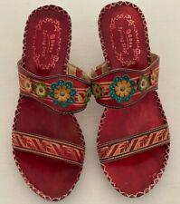 Spring Step Sandals Size 39 Red Flower Leather Tango Dance Boho Slides 8.5