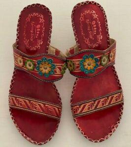 Spring Step Sandals Size 8.5 Red Flower Leather Tango Dance Boho Slides