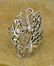 Butterfly Ring size 7 style# r2177 Beautiful .925 Sterling Silver Wide Filigree