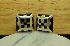 925 STERLING SILVER BIG SQUARE BLACK CLIP ON EARRINGS #X25772