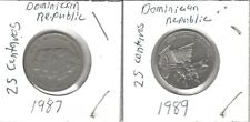 Dominican Republic Set Of(2) 25 Centavos Coins 1987,1989