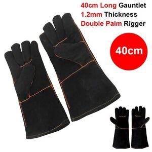 Heavy Duty Wood Burner Welding Heat Resistant Leather Gloves Stoves Fire Black