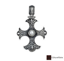 Gerochristo 5330N ~ Sterling Silver with Pearl Medieval-Gothic Cross Pendant