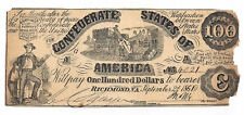 Ct-13 1861 Confederate States of America $100 Note No.4021