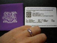 GEMPORIA 1.34ct Natural Purple Sapphire & White Zircon 9K Gold Ring - Size J to