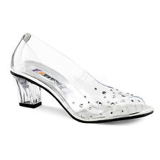 Clear Cinderella Princess Glass Slippers Bridal Wedding Shoes Heels size 8 9 10