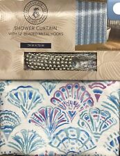 Caribbean Joe Tropical Mermaid Shells Teal Blue Plum SHOWER CURTAIN Hooks