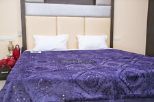 King Size Bed Cover indian Antique throw Hand Work Mirror Work Bedspread,Blanket