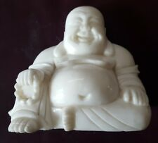 Hand Carved White Stone Sitting Happy Buddha Statue 6""