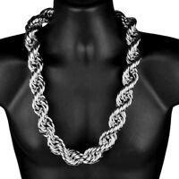 "Mens Huge Rope Hip Hop Chain 30MM  x 30"" Inch Silver Tone Hollow Dookie Necklace"