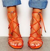 Ladies Womens Sexy Peep Toe Buckle Sandals Ankle Strap Block High Heels Shoes Sz
