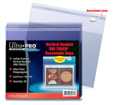Ultra Pro ONE TOUCH Vertical Booklet Resealable Bags 50ct Pack Clear