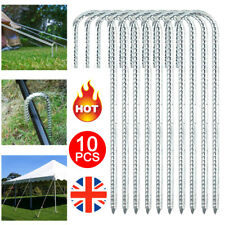 More details for 10pcs galvanised steel tent pegs heavy duty rebar ground stakes garden anchors